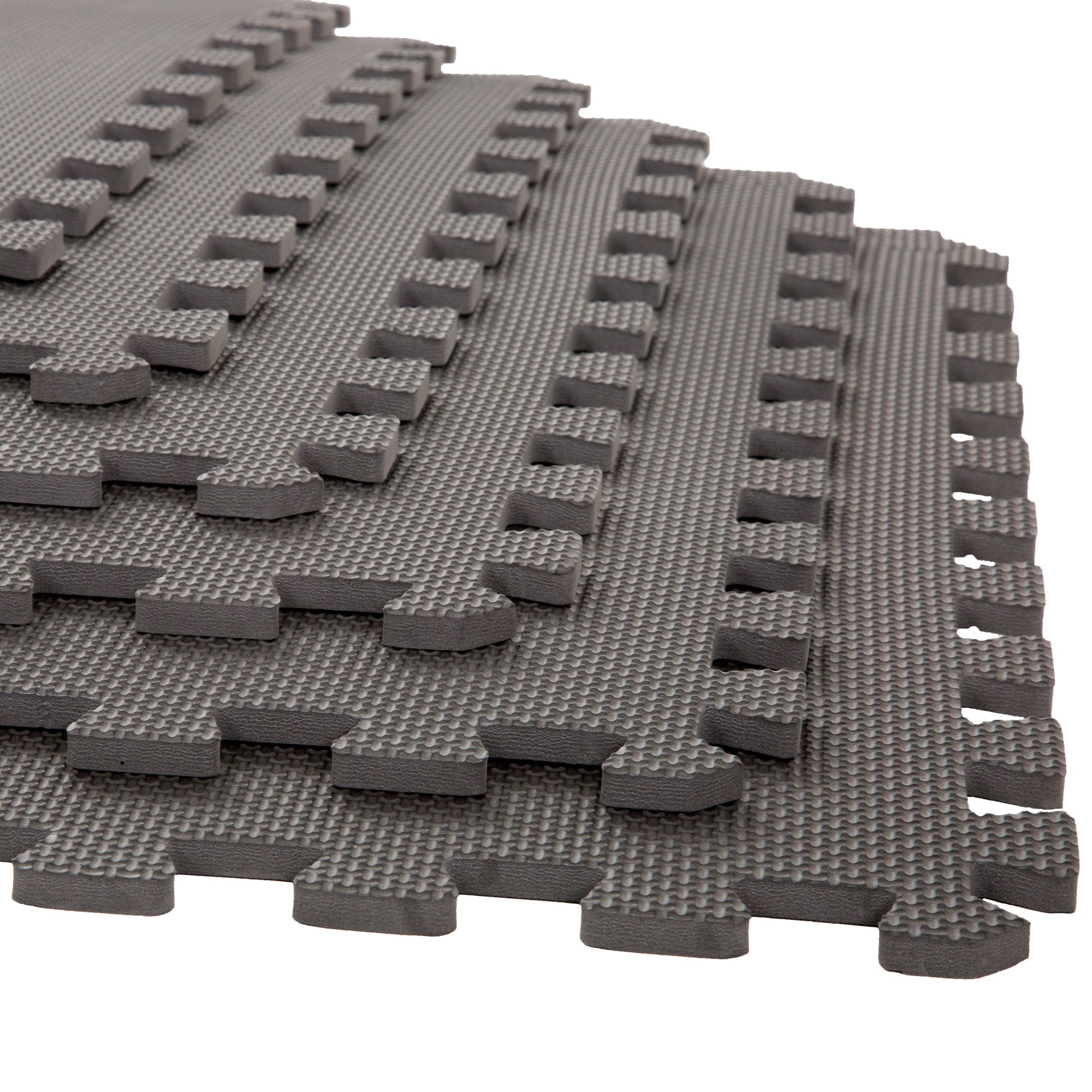 Foam Mat Floor Tiles, Interlocking EVA Foam Padding by Stalwart – Soft Flooring for Exercising, Yoga, Camping, Playroom – 6 Pack, .375 inches thick by Stalwart (Image #1)