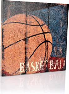 Basketball Sports Canvas Wall Art | Boys Bedroom Décor | Kids Room | Vintage Sports Art | Baskeball Decor | For Sports Room & Game Room | Great Gift | Large Size 18