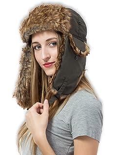 5ac9f78dec3 Tough Headwear Trapper Hat with Faux Fur   Ear Flaps - Ushanka Aviator  Russian Hat for