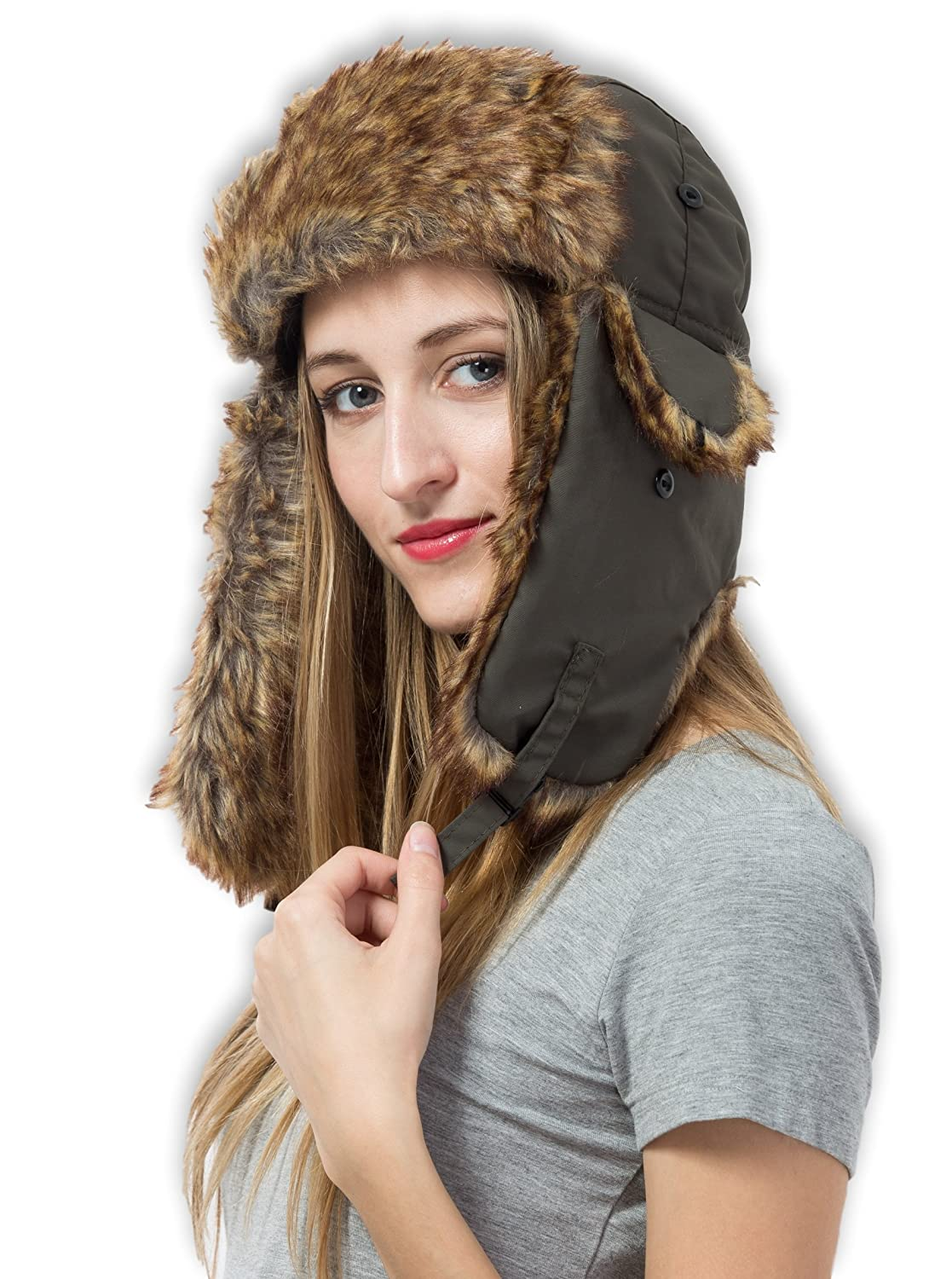 Tough Headwear Trapper Hat with Faux Fur   Ear Flaps - Ushanka Aviator  Russian Hat for Serious Expeditions   Serious Style. Waterproof 06ff6ab3a1b