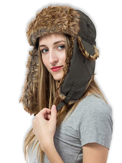 Tough Headwear Trapper Hat with Faux Fur   Ear Flaps - Ushanka Aviator Russian  Hat for 824b8f91043