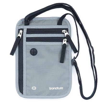 Monedero para colgar en el cuello, plano con protección RFID en color gris - bolsillo interior impermeable para máxima seguridad para el smartphone y ...