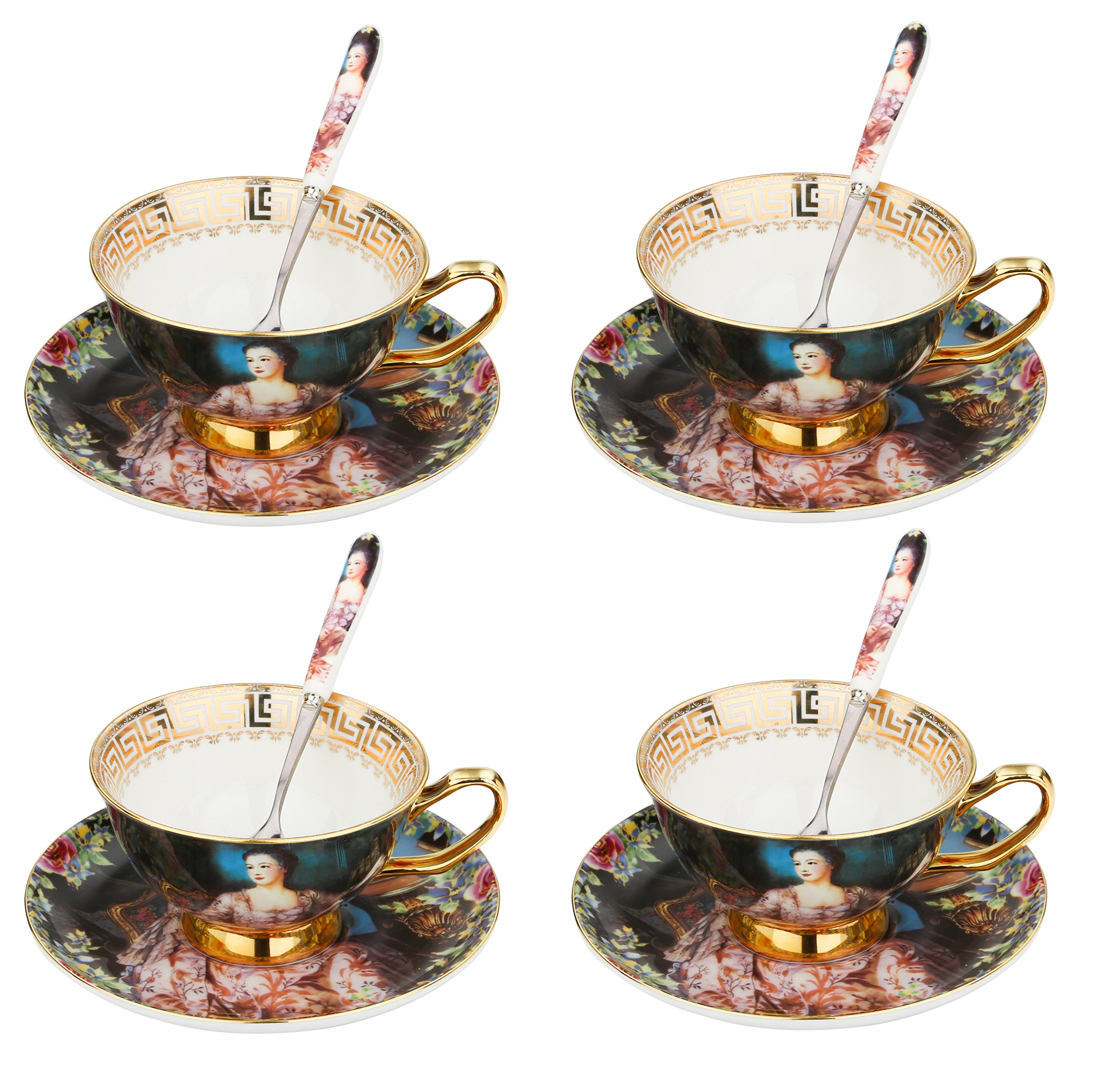ARTVIGOR Queen Oil Painting Coffee Serving Set, New Bone China Gold Rimmed Cup & Saucer Sets with Spoon for 4