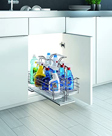 Under Sink Organizer Pull Out Removable Sliding Shelf From Villè Home  Kitchen Accessories Chrome Cleaner Caddy