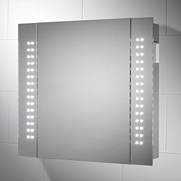 Pebble Grey Rowan LED Illuminated Bathroom Cabinet With Lights Sensor Switch Demister Pad And