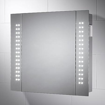 Pebble Grey Rowan Led Illuminated Bathroom Mirror Cabinet H 600mm