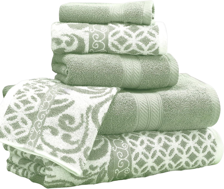 Amrapur Overseas | Trefoil Filigree 6 Piece Reversible Yarn Dyed Jacquard Towel Set (Sage)