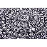 Handicrunch Indian Elephant Mandala Tapestry, Hippie Tapestries, Tapestry Wall Hanging, Indian Black & White Tapestry , Bohemian Dorm Decor Mandala Tapestries, Pyshedlic Tapestry, Hippy Mandala