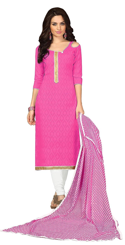 Khushali Presents Lakda Jacquard Dress Material(Pink,White)