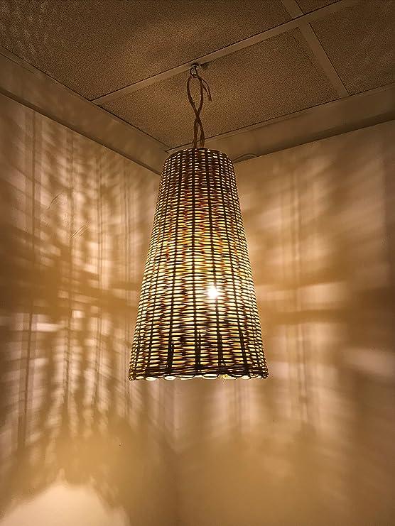 Etnico Arredo Lustre marocain en Paille tress/ée Lampe Applique Lanterne Osier Ethnique rotin marocain Fait /à la Main Handmade 0503191115