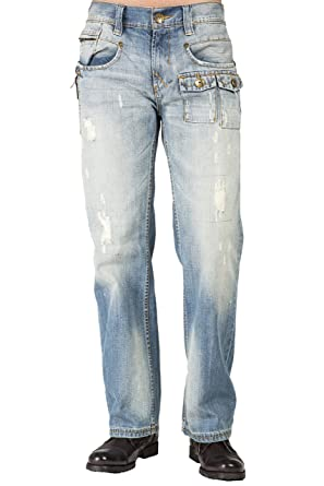 65e7c8e9613 Level 7 Mens Relaxed Bootcut Premium Distressed Jeans, Zipper Utility  Pockets Size 32 X 32