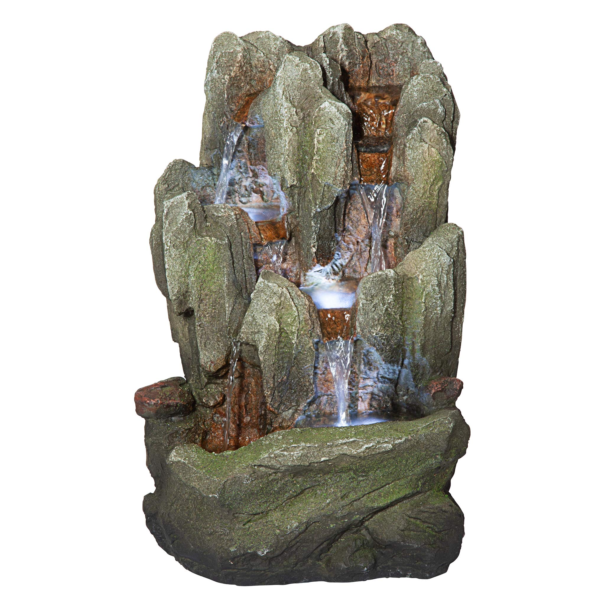 Design Toscano QN170016 Lost Falls Cascading Waterfall Illuminated Tabletop Fountain, 14 Inch, Faux Stone