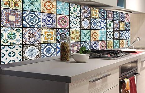 DIMEX LINE Küchenrückwand Folie selbstklebend AZULEJOS 180 x 60 cm    Klebefolie - Dekofolie - Spritzschutz für Küche   Premium QUALITÄT