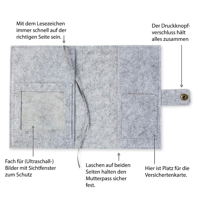 Design H/ülle f/ür deutschen Mutterpass mit Druckknopfverschluss hellgrau Mutterpassh/ülle Sterne aus Filz
