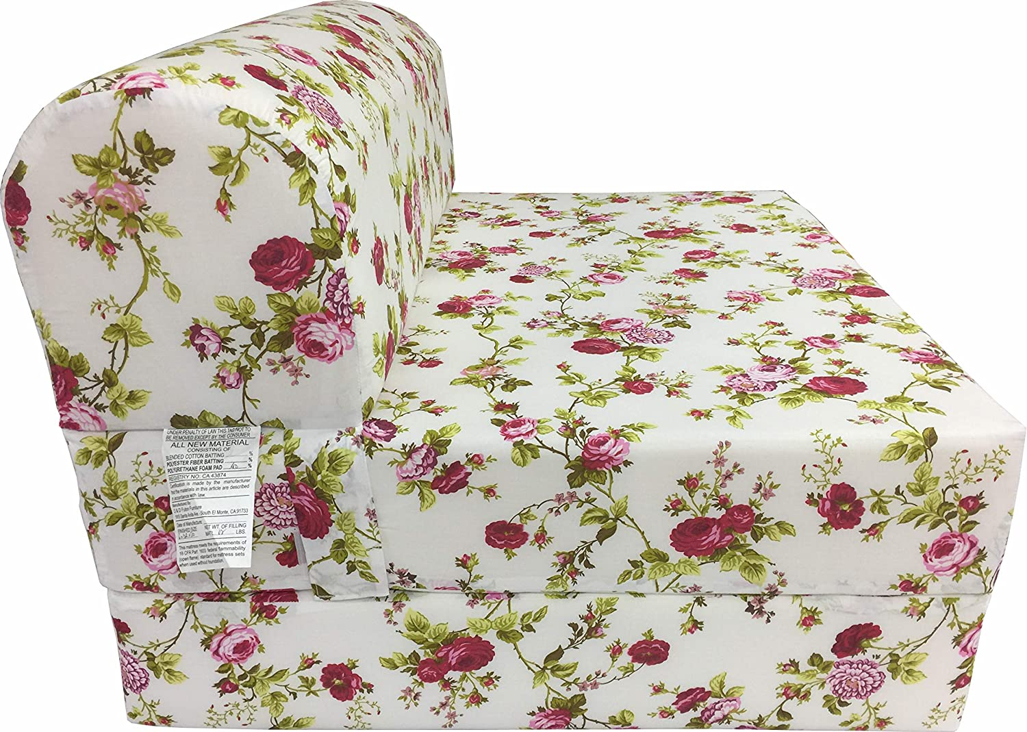 D D Futon Furniture Red Rose White Sleeper Chair Folding Foam Bed Sized 6 Thick X 32 Wide X 70 Long, Studio Guest Foldable Chair Beds, Foam Sofa, Couch, High Density Foam 1.8 Pounds.