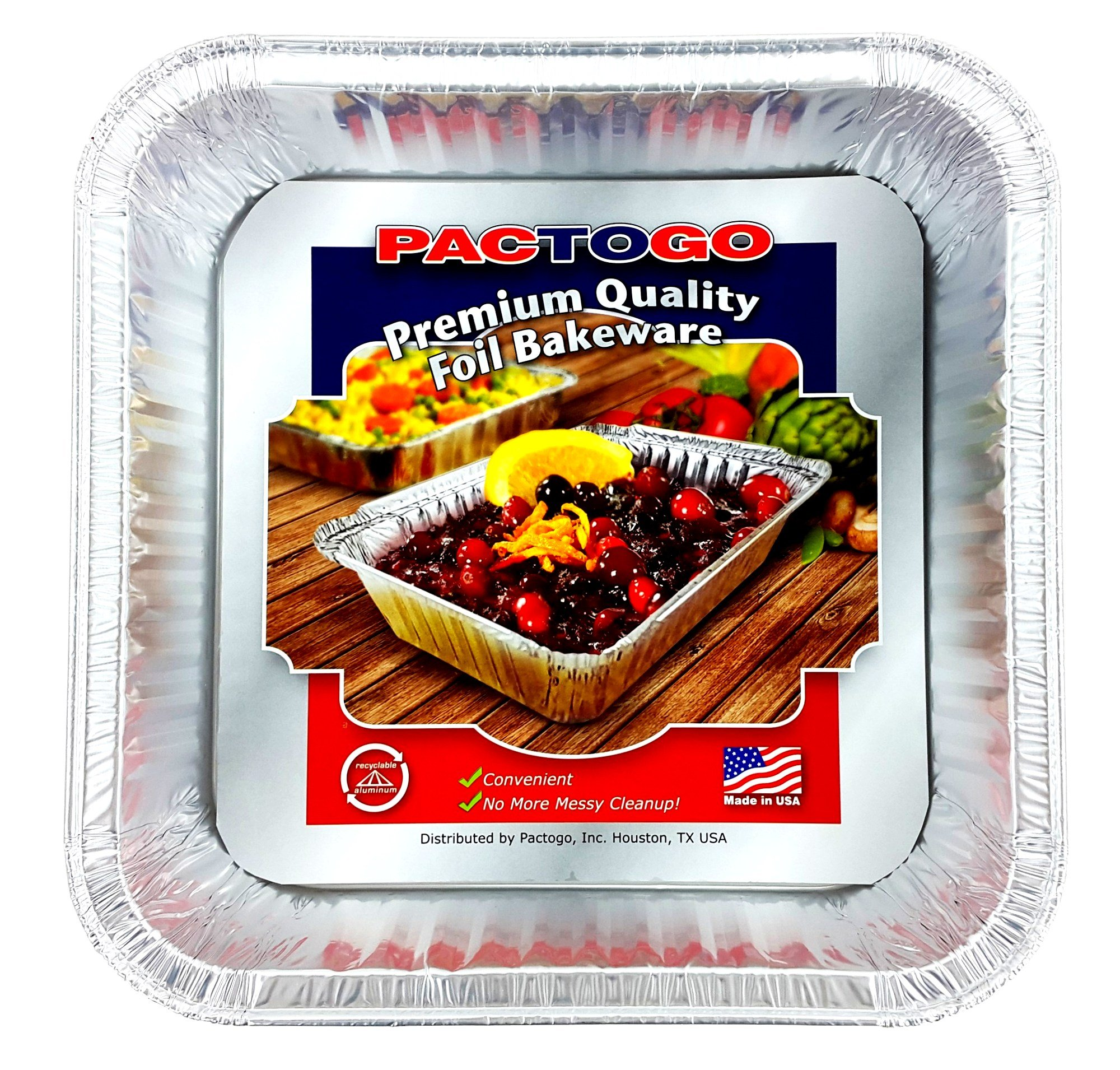 Pactogo Red Holiday Christmas Square Cake Aluminum Foil Pan w/Clear Dome Lid Disposable Baking Tins (Pack of 25 Sets) by PACTOGO (Image #2)