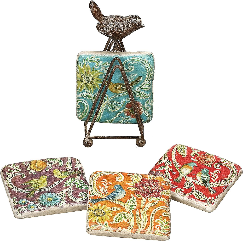 Creative Co-Op DA1677 Colorful Bird Coaster Set with Metal Bird Stand