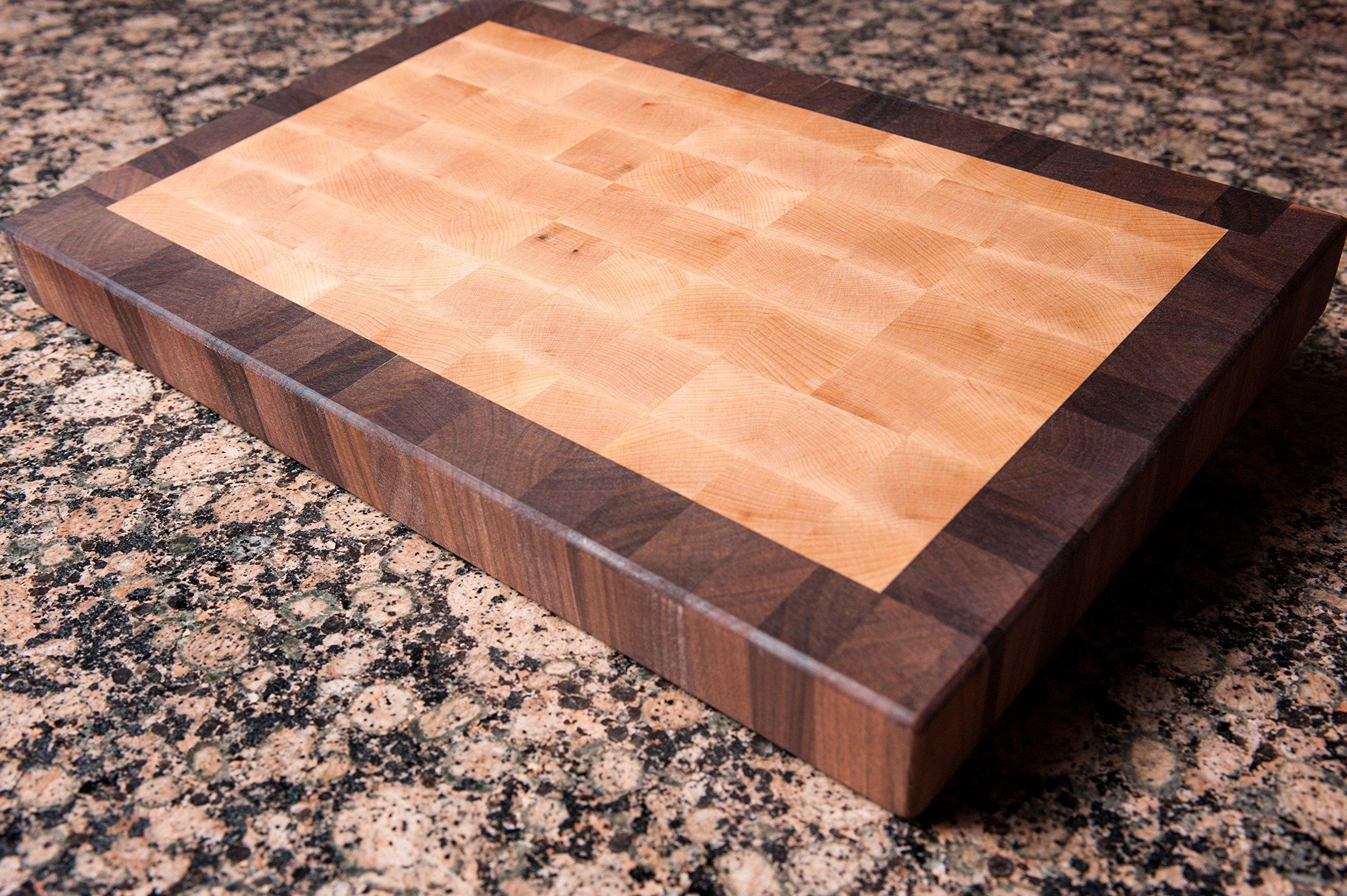 Chopping Blox Walnut and Maple End Grain Handmade Wood Cutting Board Large - (SIXM-M)
