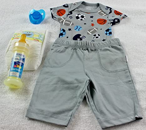 1dd977bc1 Image Unavailable. Image not available for. Color: Reborn Baby Doll OOAK Boy  Fake Formula Milk Bottle Pacifier Diaper Sports Onesie