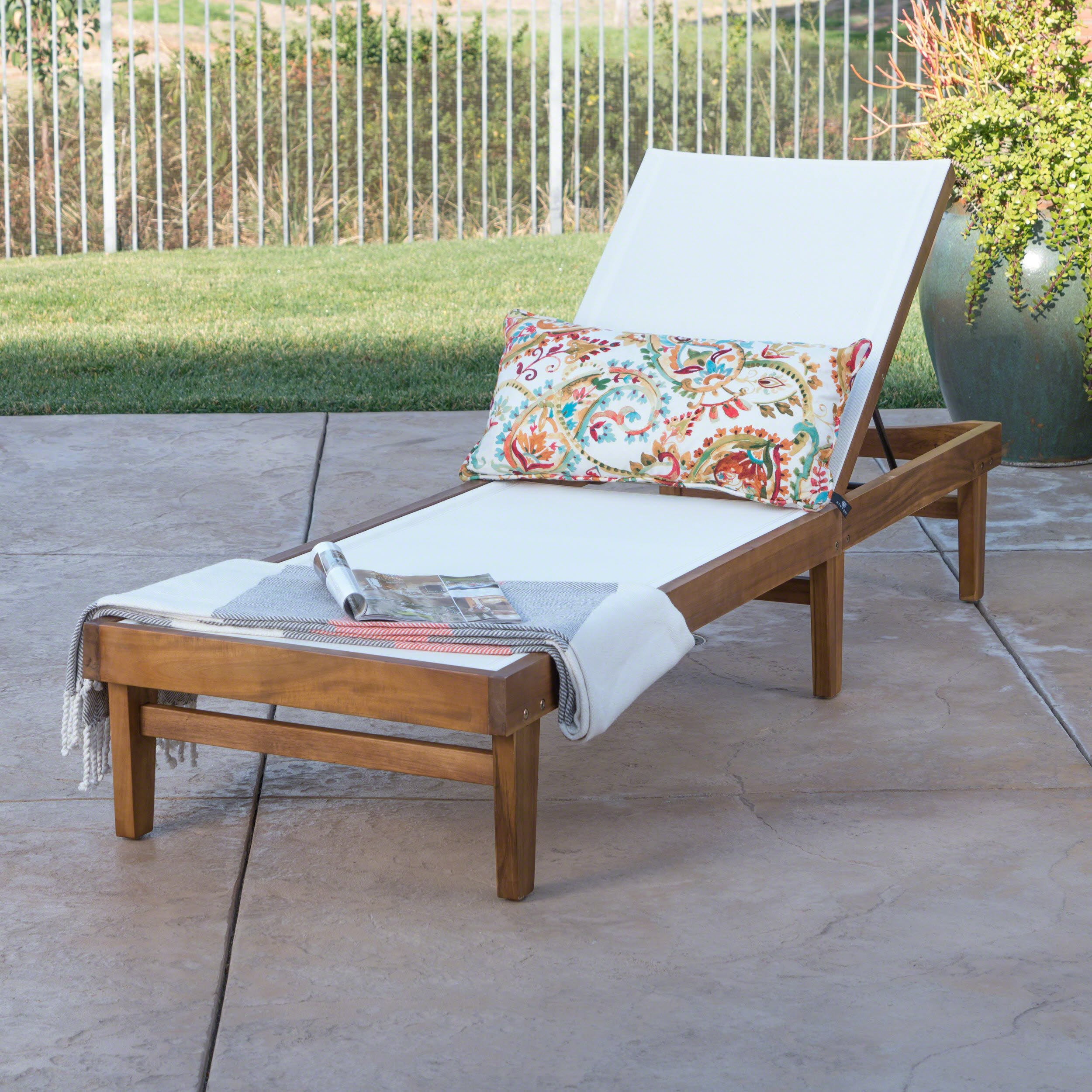 Great Deal Furniture Della Outdoor White Mesh Chaise Lounge with Teak Finished Acacia Wood Frame by Great Deal Furniture