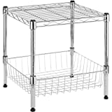 Whitmor 6054-2364 Chrome Supreme Collection Supreme Stacking Shelf with Basket