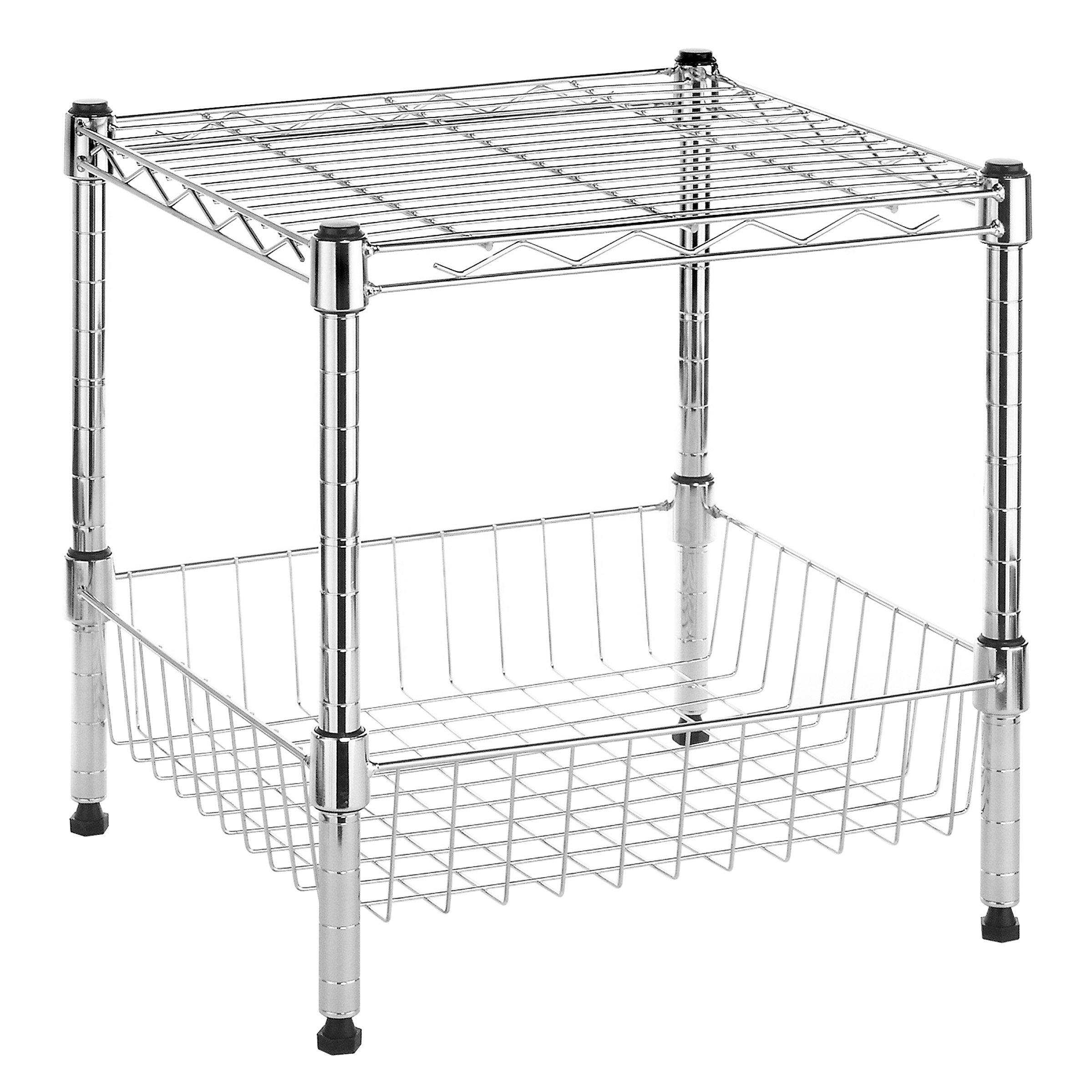 Whitmor Supreme Stacking Shelf with Basket - Adjustable Home Organizer - Chrome