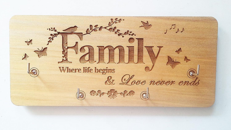 Amazon.com: Family Key Holder With Four Hooks, Wooden Key Holder For ...