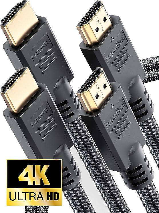 PowerBear Cable HDMI [2m - Pack de 2] Cable Ultra-HD (UHD) 4K HDMI ...