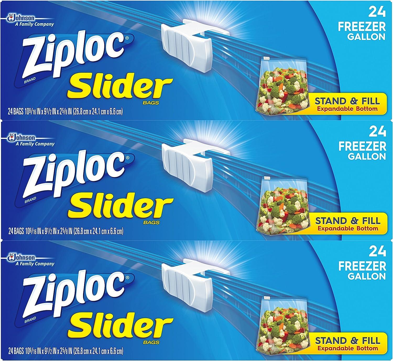 Ziploc Slider Freezer Bags, Gallon, 3 Pack, 24 ct