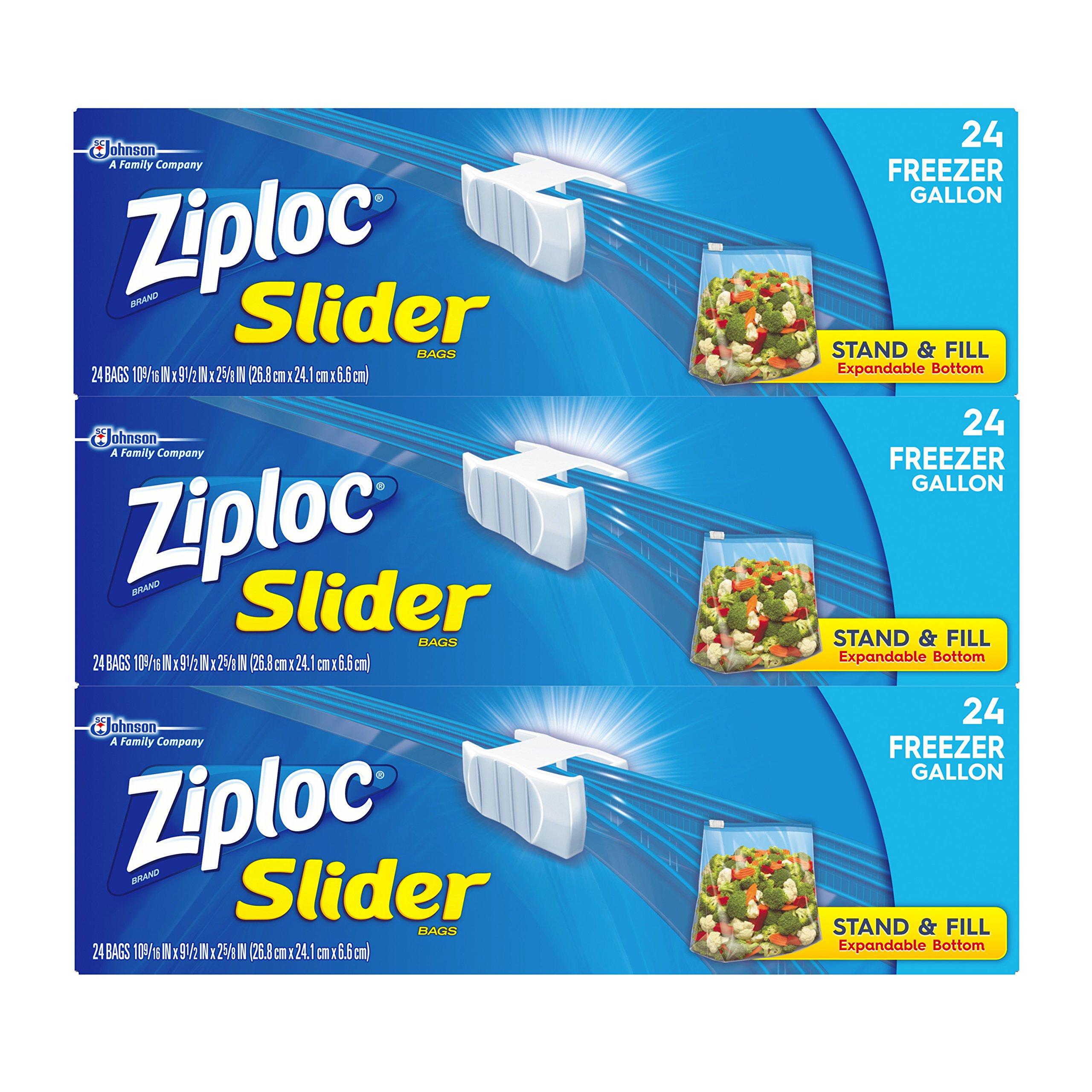 Ziploc Gallon Slider Freezer Bags, 72 Count