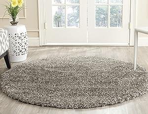 Safavieh Milan Shag Collection SG180-8080 2-inch Thick Area Rug, 3' Round, Grey