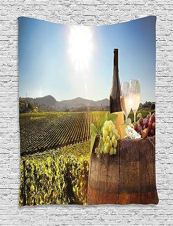 Tammy Chappell Wein Wandteppich, Weiß Wein Mit Fass Auf Berühmte Vineyard  In Chianti Toskana Landwirtschaft