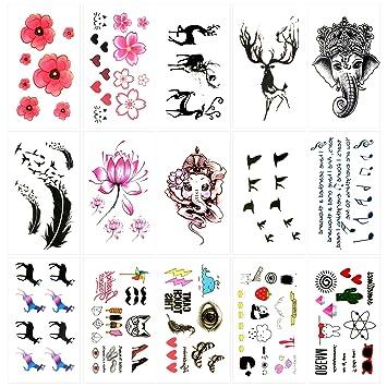 Amazon.com : Oottati 15 Sheets Small Cute Temporary Tattoos Flower ...