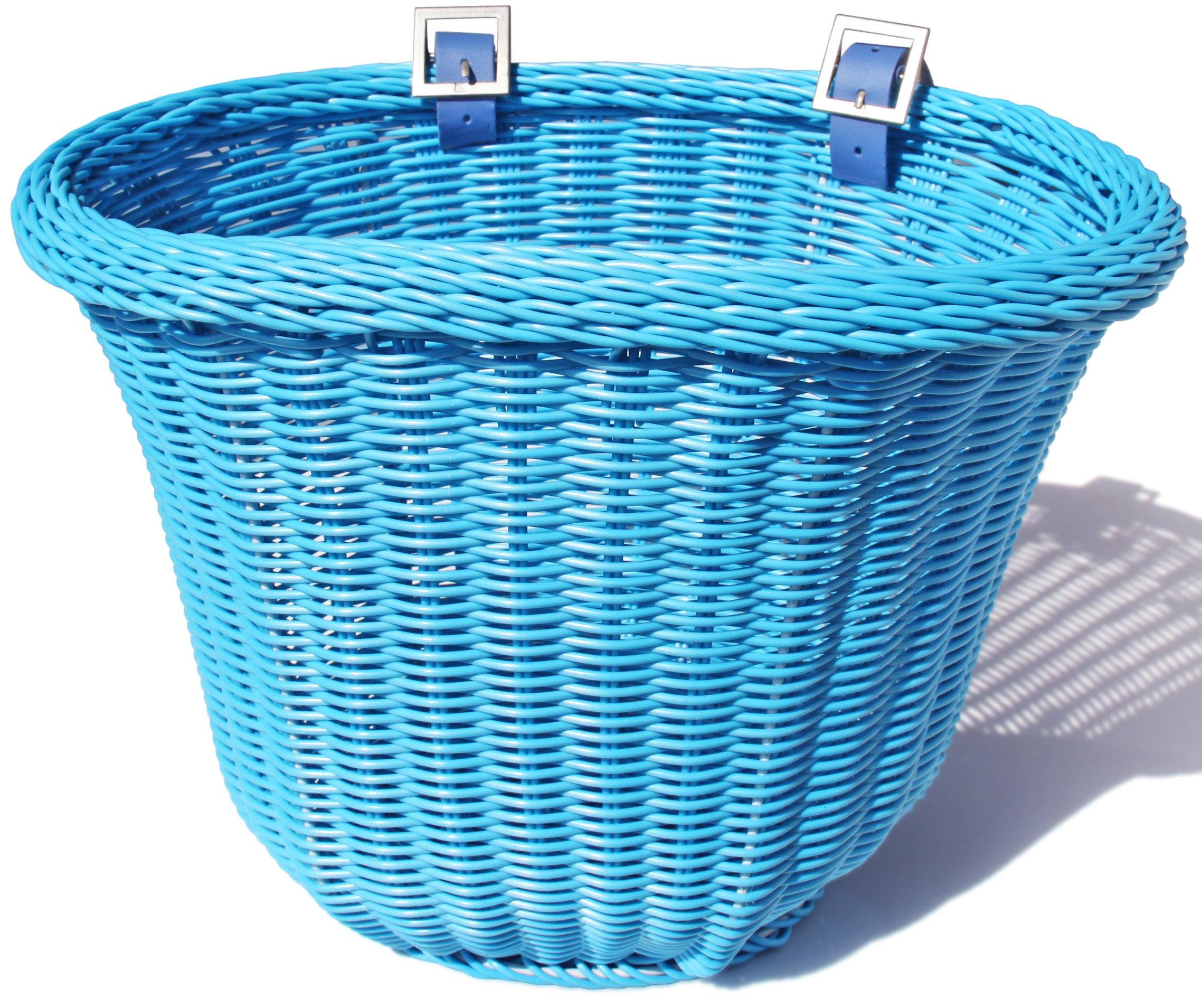 Colorbasket 01426 Front Handle Bar Adult Bike Basket, Water Resistant, Leather Straps, Blue