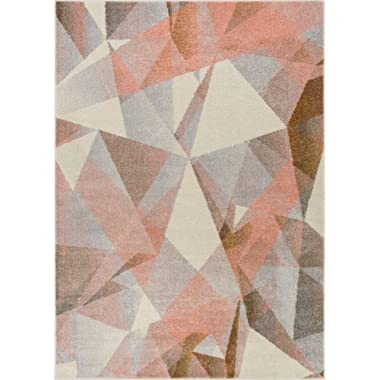 Well Woven Barra Blush Pink Multi-Color Modern Geometric Triangle Pattern Abstract 5x7 (5'3  x 7'3 ) Area Rug Contemporary Thick Soft Plush