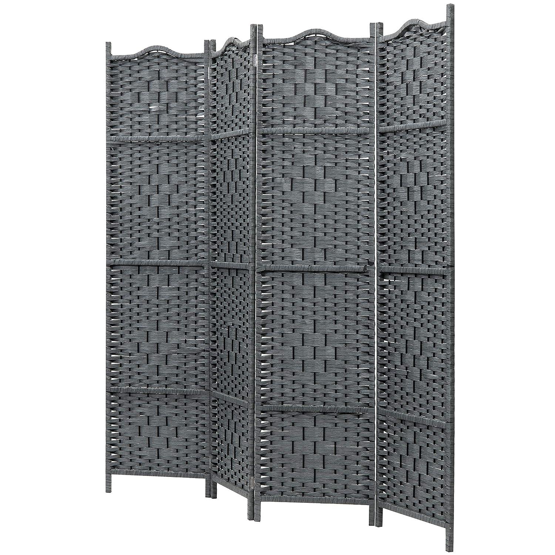 MyGift 4-Panel Freestanding Grey Bamboo Woven Folding Room Divider