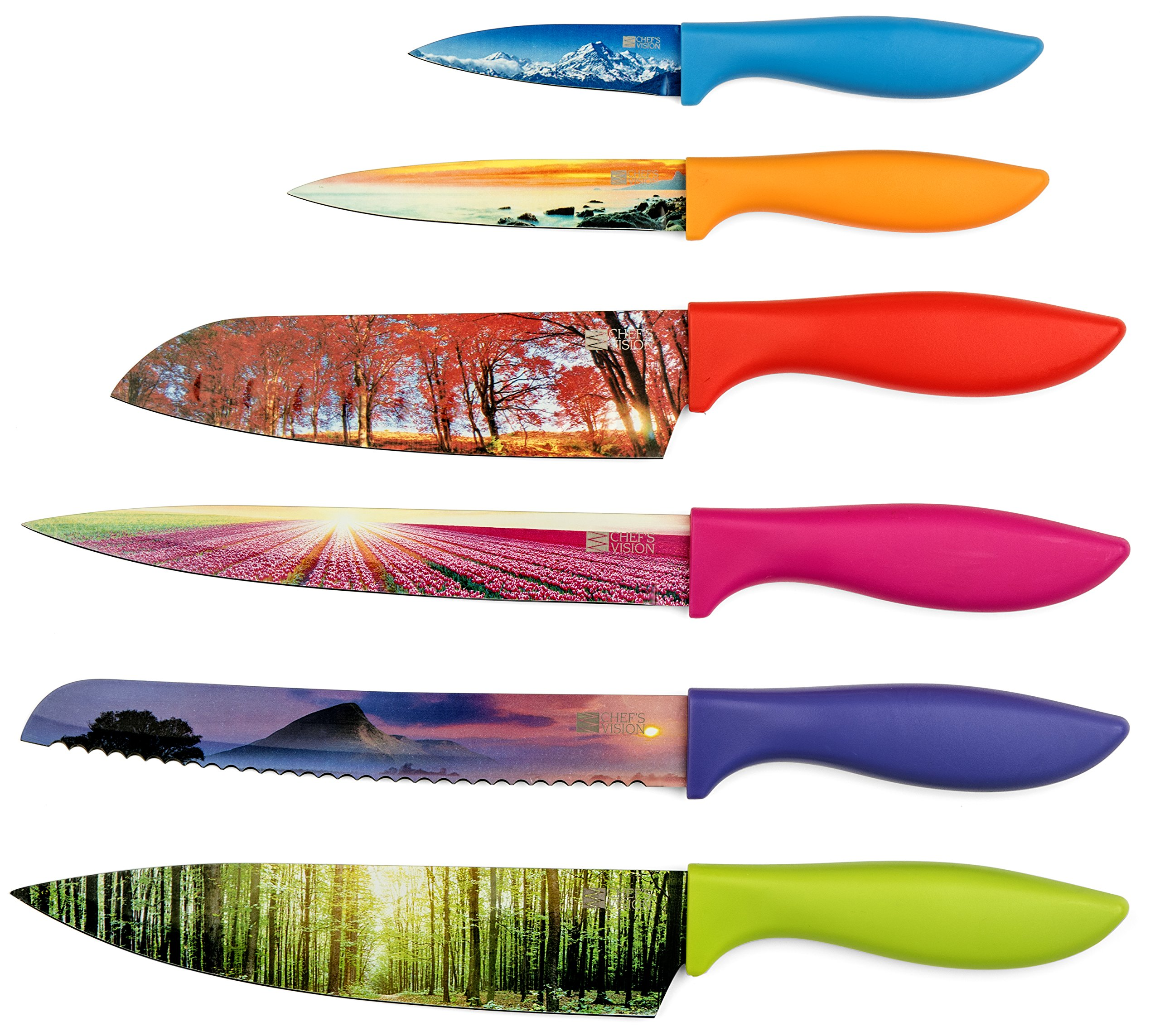Kitchen Knife Set in Gift Box by Chef's Vision - Landscape Series - Beautiful, Unique Gifts For Her and For Him - 6 Piece Color Knife Set - Chef, Bread, Slicer, Santoku, Utility and Paring Knives