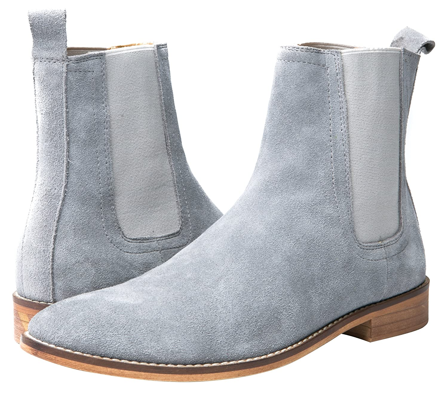 def3e171c Santimon Chelsea Boots Men Suede Casual Dress Boots Ankle Boots Formal  Shoes Black Brown Grey (6.5 US, Grey): Amazon.ca: Shoes & Handbags
