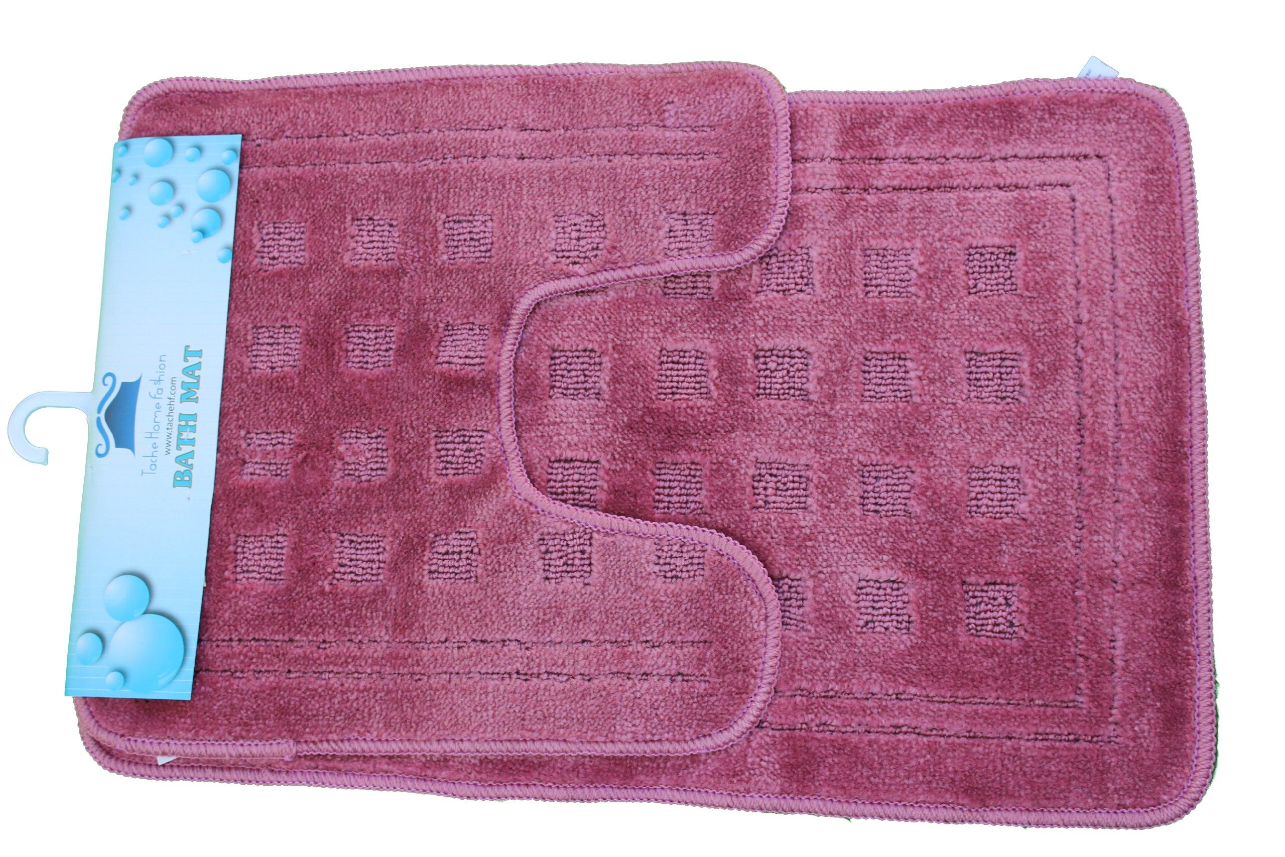 Tache 2 Piece Solid Purple Pink Bathroom Rug with U Shaped Contoured Toilet Mat Set