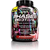 MuscleTech Phase 8 Protein Powder, Sustained Release Multi-Phase 8-Hour Protein Formula, Strawberry, 4.60 lbs