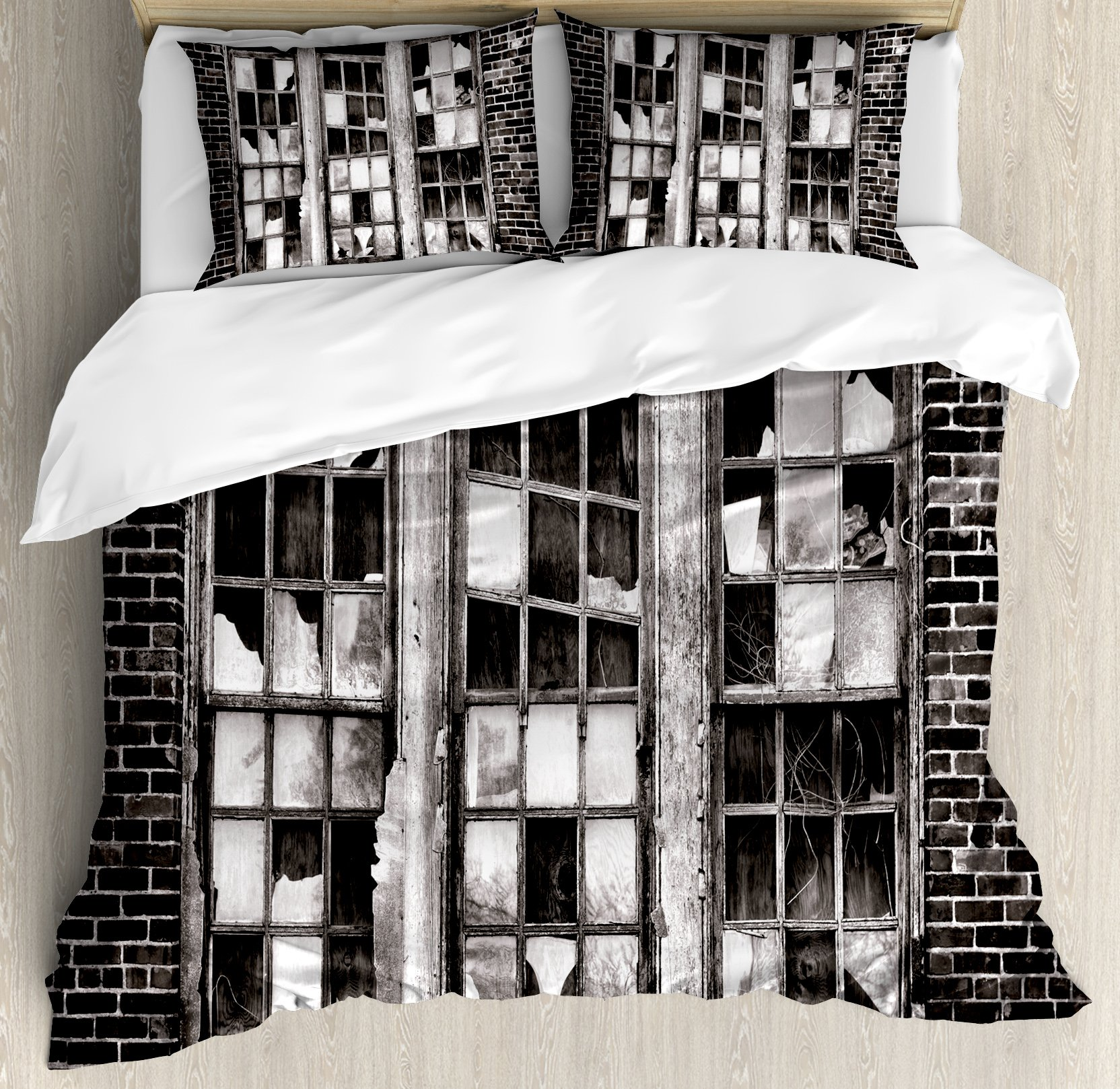 Industrial King Size Duvet Cover Set by Ambesonne, Broken Window Missing Glass Pane Derelict Blight Factory Brick Wall, Decorative 3 Piece Bedding Set with 2 Pillow Shams, Charcoal Grey Pale Grey