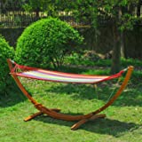 Outsunny Garden Outdoor Patio Standing Frame Wooden Hammock with Arc Stand - Multi-Colour