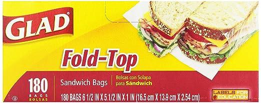 Glad Sandwich Bags, Fold Top, 180 bags