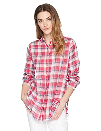 bb56cbf161e 3J Workshop by Johnny Was Women's Misha Embroidered Back Shirt, Plaid L at  Amazon Women's Clothing store: