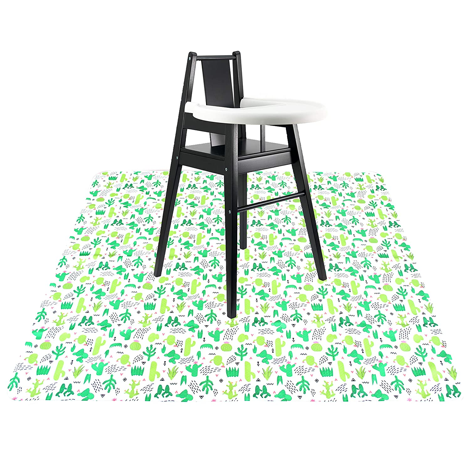 Langsprit 53 Splat Mat for Under High Chair Washable Splash Mat Anti-Slip Mess Mat Portable Play Mat,Table Cloth for Art//Crafts,Cactus