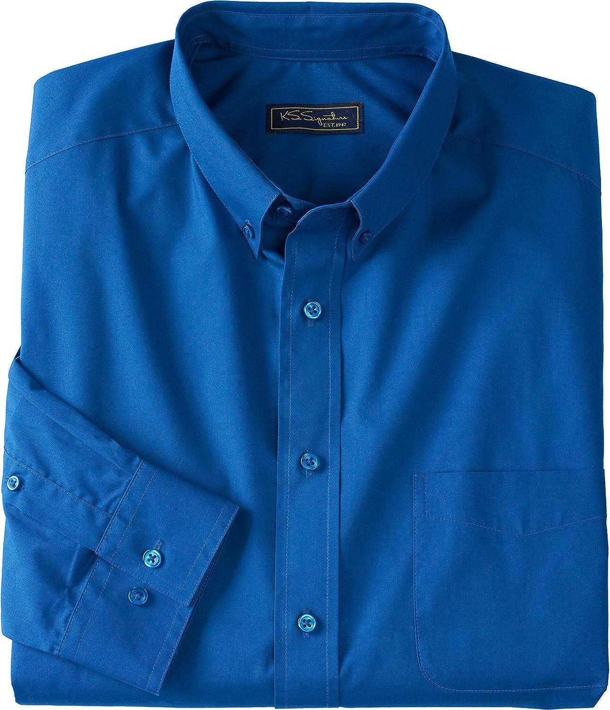 Kingsize Signature Collection Mens Big /& Tall Signature Fit Long-Sleeve Broadcloth Dress Shirt
