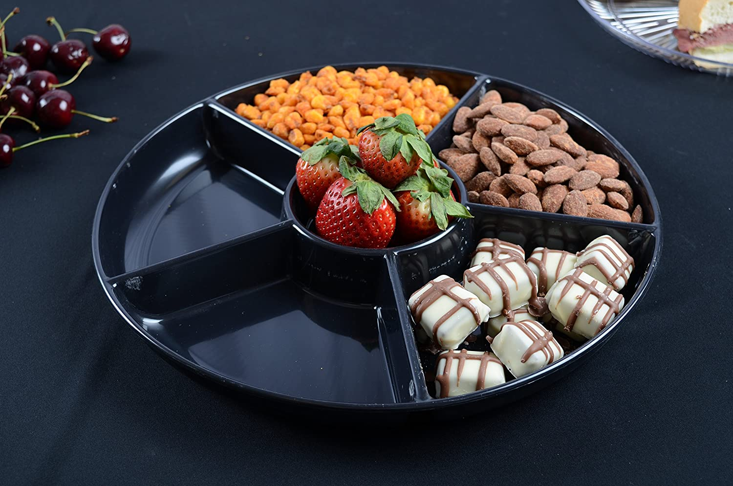 Platter Pleasers D13660.BK 6 Compartment Tray 13 Black