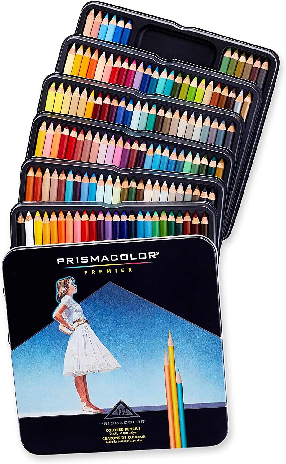 Sanford 4484 Prismacolor Drawing & Sketching Pencils, 0.70 mm, 132 Assorted Colors/Set : Wood Colored Pencils : Office Products