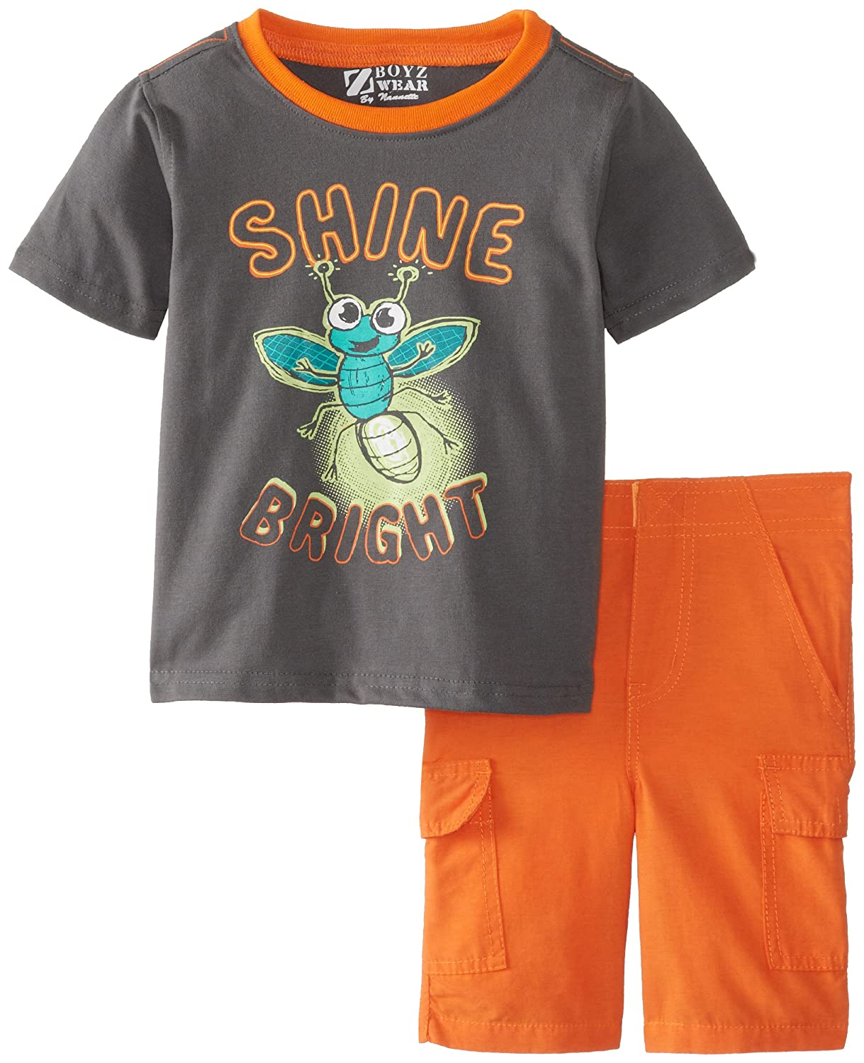 Nannette Baby Boys 2 Piece Orange Shine Bright Pullover and Short