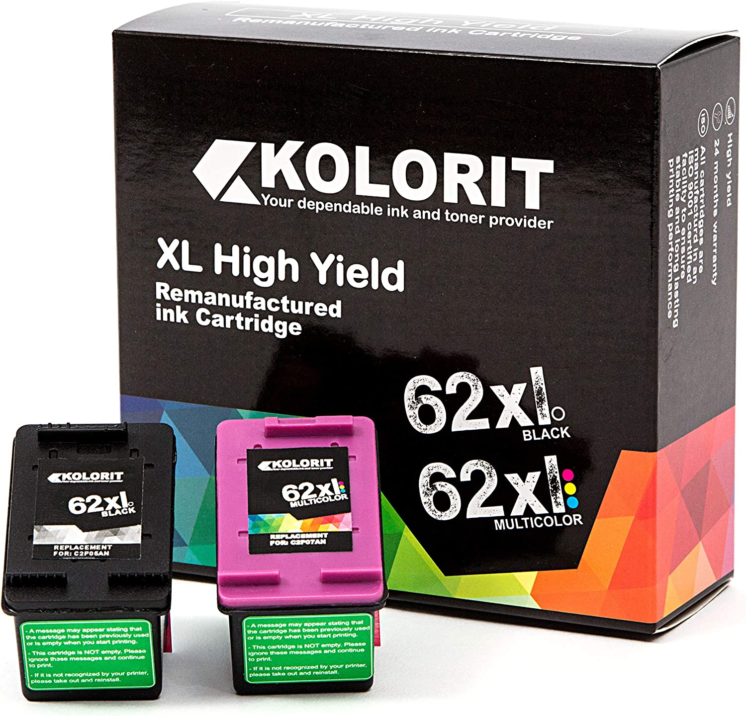 Kolorit Remanufactured for HP Ink Cartridge 62 XL Inkjet for HP Envy 5540 5640 5660 7640 8000 Officejet 5740 8040 Officejet Mobile 200 250 258 Printer Series (2 Pack, Tricolor-1 & Black-1)
